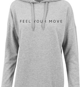 "Damen Oversized Hoody ""Feel Your Move"" grau DT037G"